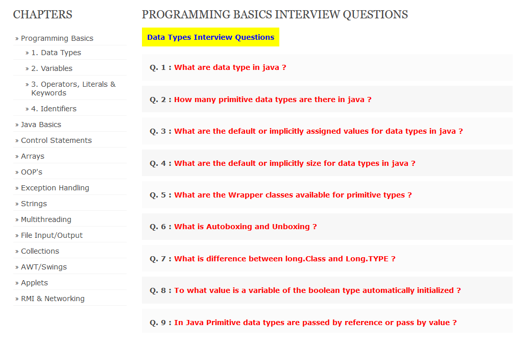 Java Interview Questions by Deepak Smart Programming